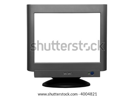 A CRT computer monitor isolated on a white background with clipping path - stock photo