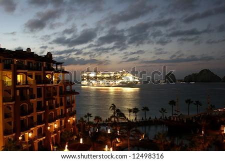 A cruise ship coming into port in Cabo San Lucas, Mexico - stock photo
