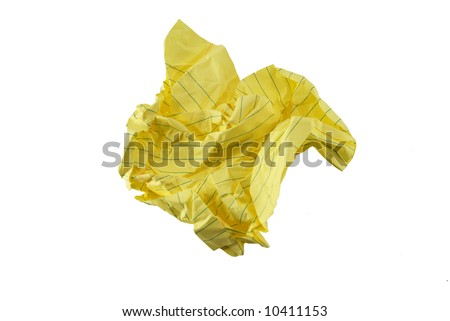 A crumpled piece of note paper. - stock photo