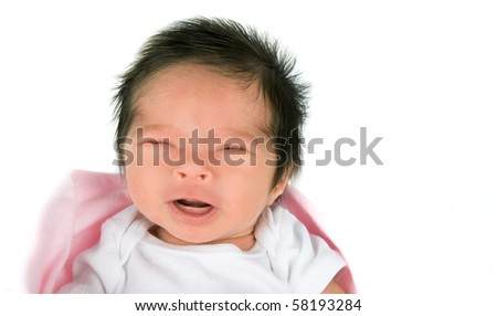 A crying newborn baby girl on a white background - stock photo