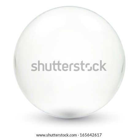 a crystal ball on white surface with shadow - stock photo