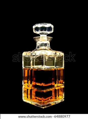 A crystal whiskey decanter - stock photo