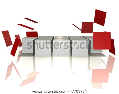 A cube array is falling apart - 3d abstract image - stock photo