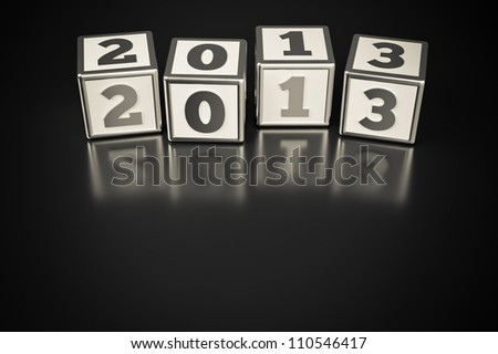 a  cubes with digits inside in a shape 2013 - stock photo
