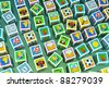 a cubes with icons on it, creative background - stock photo
