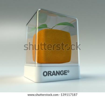 A cubic orange in a showcase - stock photo