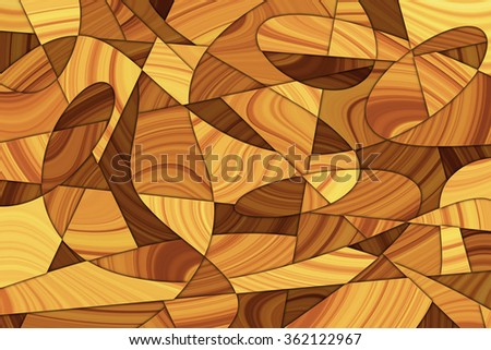 A Cubist Abstract Background with Wood Grain and Swirling Lines - stock photo