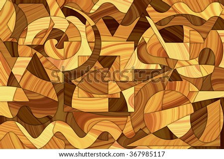 A Cubist Abstract Background with Wood Grain and Swirling Lines and Shapes - stock photo