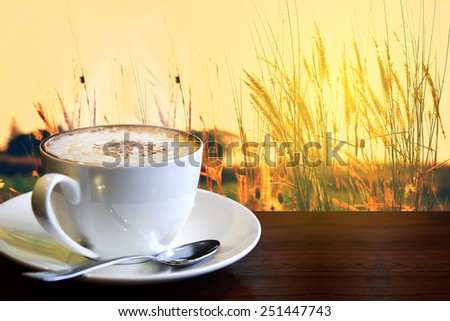 a cup of cappuccino coffee with high grass background at sunset - stock photo