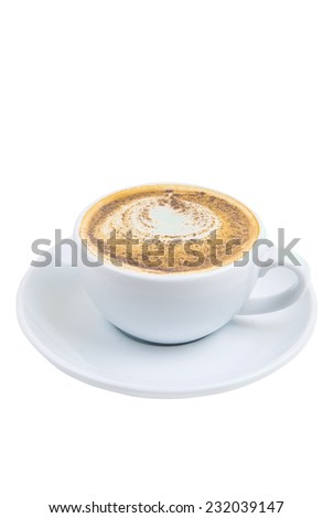 A cup of Cappuccino on white background - stock photo