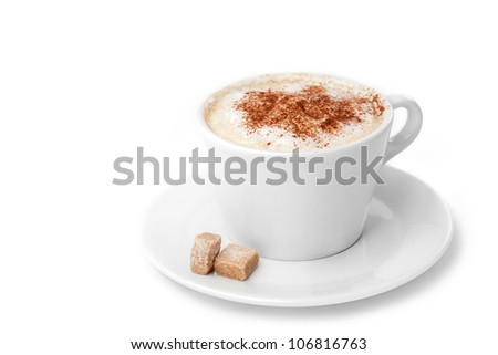 A Cup of Cappuccino with Froth, Cinnamon, Lump Sugar isolated on a White background - stock photo