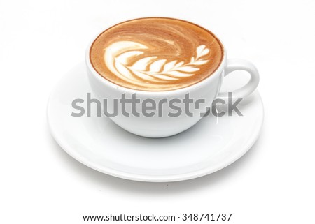 A cup of coffee white background isolated - stock photo