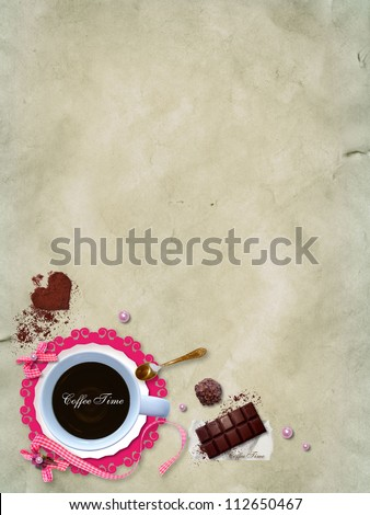 A cup of coffee with a delicious chocolate and candy. Scrap template coffee and sweets, can be used as the cover or menu for cafe - stock photo