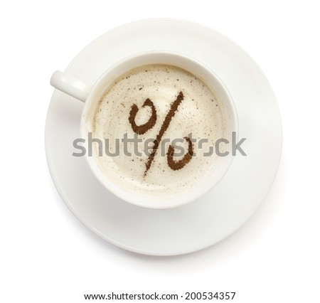 A cup of coffee with foam and powder in the shape of a discount symbol.(series) - stock photo