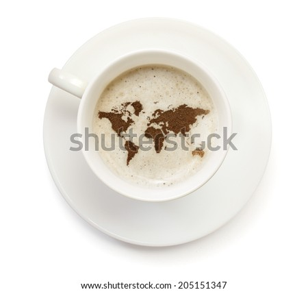 A cup of coffee with foam and powder in the shape of World.(series) - stock photo