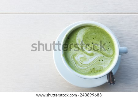 A Cup of Green Tea Latte - stock photo