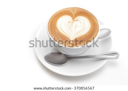 A cup of heart coffee on white background - stock photo