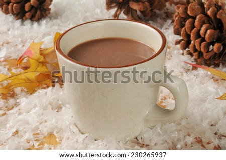 A cup of hot chocolate on a snowy wooden table with pine cones and autumn leaves - stock photo