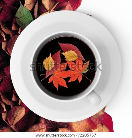 A cup of Tea and autumn leaves - stock photo
