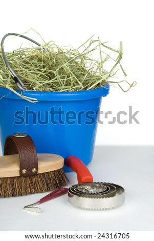 A curry comb, brush and hoof pick in front of a bucket of hay. - stock photo
