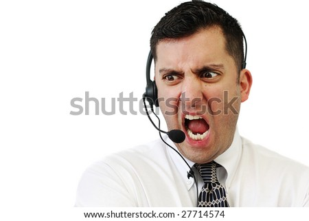 A customer service agent yelling at his client isolated over white - stock photo