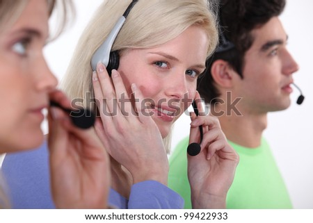 A customer service hotline. - stock photo