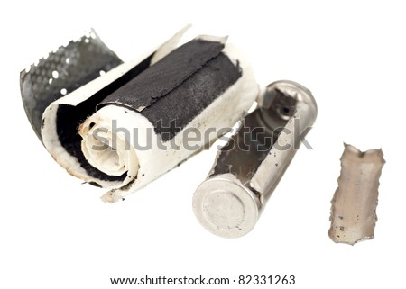 A Cutaway Image of an AA Rechargeable Cheap Battery - stock photo