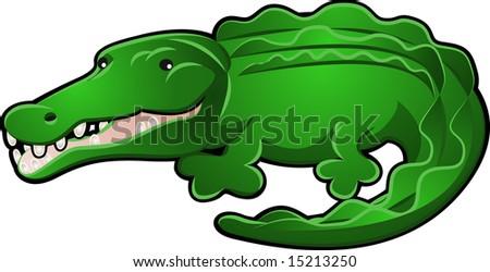 A Cute Alligator or Crocodile Cartoon Character Illustration - stock photo