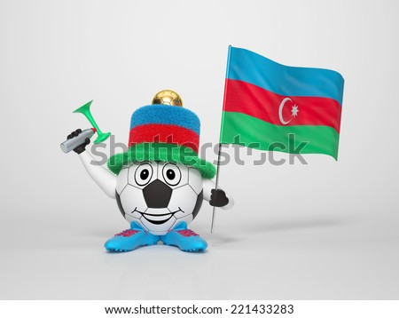 A cute and funny soccer character holding the national flag of Azerbaijan and a horn dressed in the colors of Azerbaijan on bright background supporting his team - stock photo