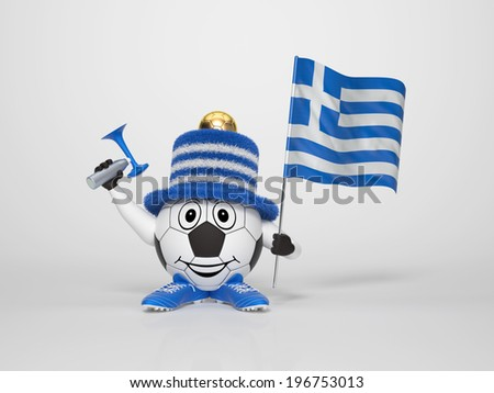 A cute and funny soccer character holding the national flag of Greece and a horn dressed in the colors of Greece on bright background supporting his team - stock photo