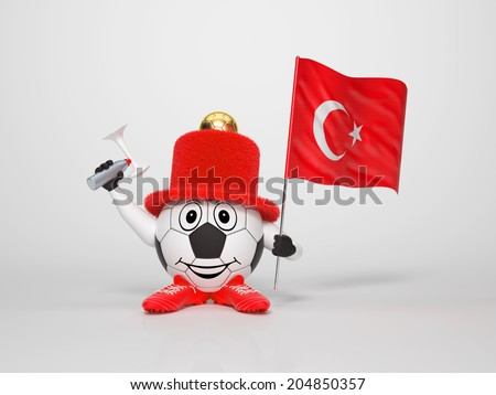 A cute and funny soccer character holding the national flag of Turkey and a horn dressed in the colors of Turkey on bright background supporting his team - stock photo