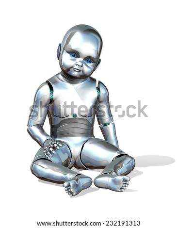 A cute baby robot - 3d render. - stock photo