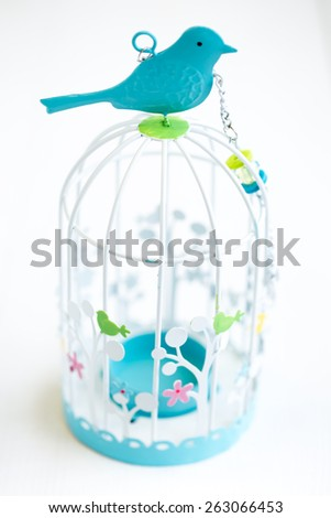 A cute birdcage with a blue bird - stock photo