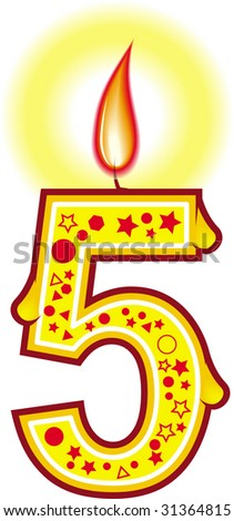A cute birthday candle over white background - stock photo