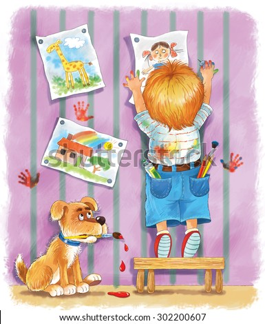 a cute  boy hanging his drawings on the wall. a little artist and his dog with a brush in its mouth. Illustration for children. A kid and his pet. greeting card. Cartoon character. - stock photo