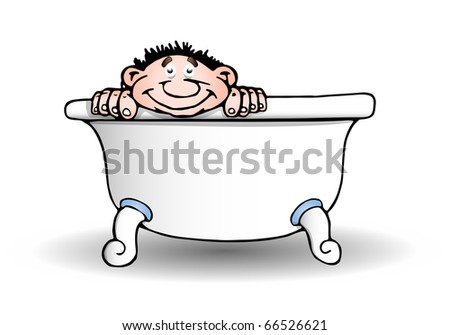 A cute boy taking a bath in a tub of water in isolated white background - stock photo