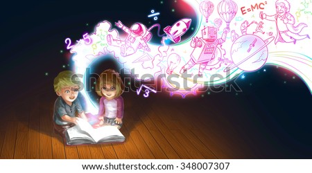 A cute cartoon couple of Caucasian children boy and girl are reading book on the floor while their edcucation knowledge and creative imagination flow like a magic stream (graphic illustration) - stock photo