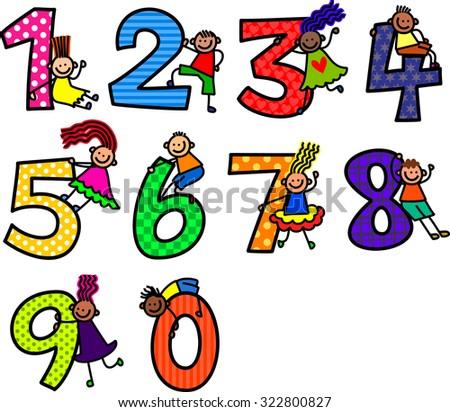 A cute cartoon doodle set of little stick kids climbing over numbers. - stock photo