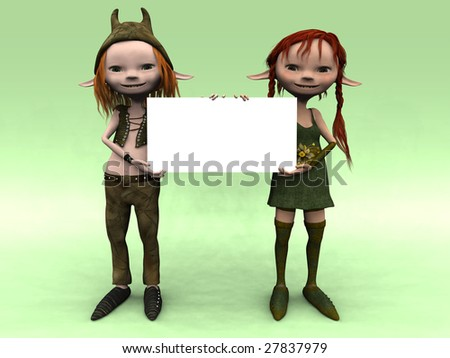 A cute cartoon elf boy and girl holding a blank sign. - stock photo