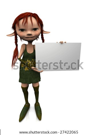 A cute cartoon elf girl with red hair holding a blank sign. - stock photo