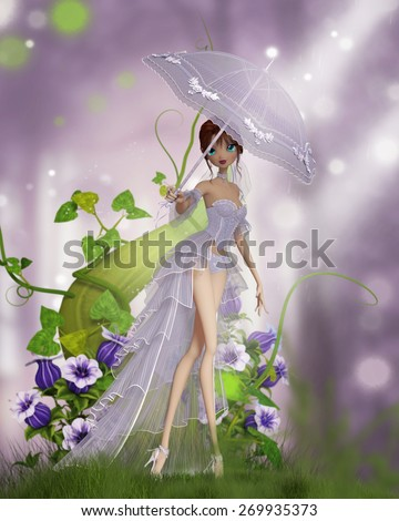 A cute cartoon like girl dressed in bridal corset and veil with a parasol with purple flowers and a beanstalk background. - stock photo