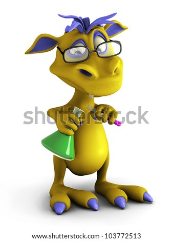 A cute cartoon monster wearing glasses and doing an experiment. He is pouring liquid from a test tube into a beaker. White background. - stock photo