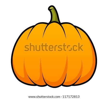 A cute cartoon pumpkin on white. Raster. - stock photo