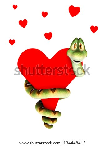 A cute cartoon snake curling around a big red heart, cuddling it. Several small hearts above him. Isolated on white background. - stock photo