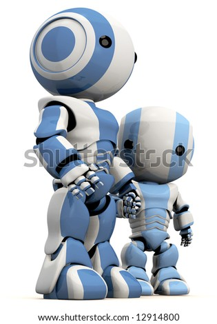 A cute 3d Robot father and son. Great concept for bonding, effection, care taking, and so forth. - stock photo