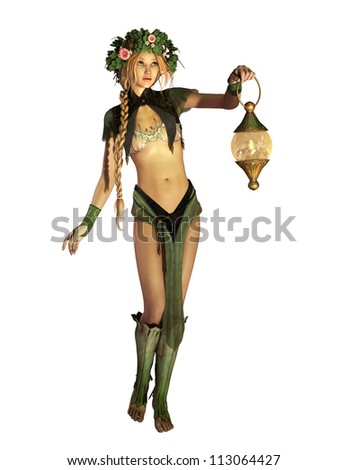a cute fairy with a lantern in her hand - stock photo