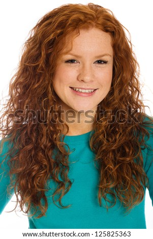A cute freckle faced girl - stock photo