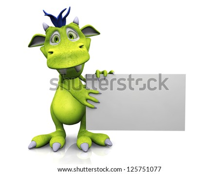 A cute friendly cartoon monster holding a blank sign in his hands. The monster is green with blue hair. White background. - stock photo