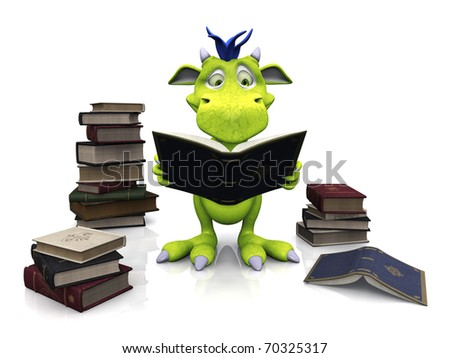 A cute friendly cartoon monster reading a book that he is holding in his hands. Several piles of books are on the floor around him. The monster is green with blue hair. White background. - stock photo