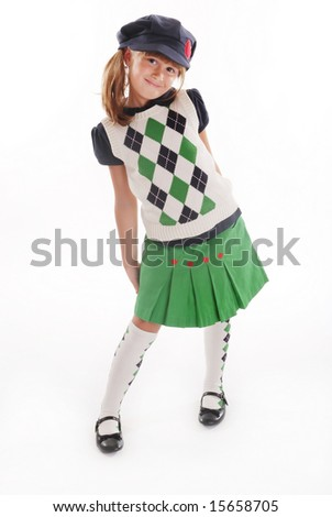 A cute girl wearing a back to school outfit - stock photo